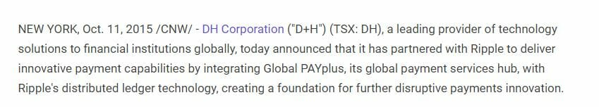 D+H Ripple XRP Global PAYPlus