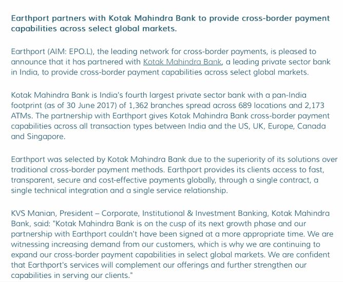 EarthPort Press Release Ripple XRP