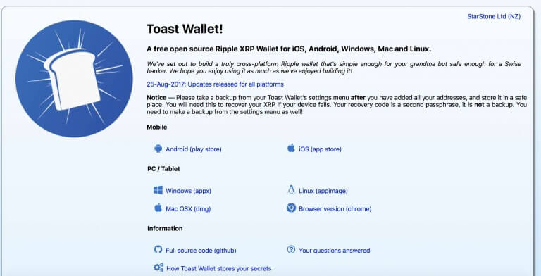 toast wallet xrp ripple